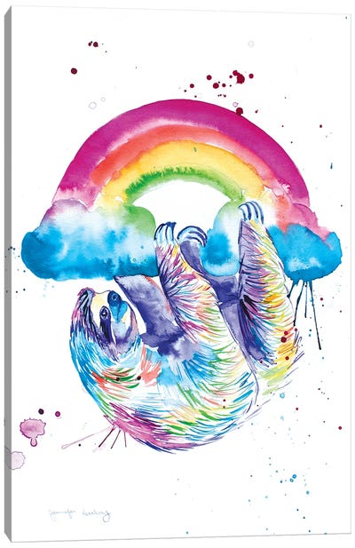 Sloth Hanging From A Rainbow Canvas Art Print