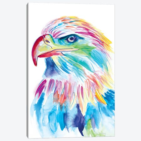 Watercolor Bald Eagle Canvas Print #JSE16} by Jennifer Seeley Canvas Wall Art