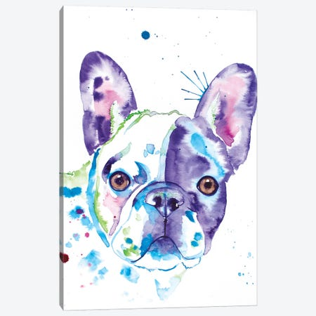 Watercolor Frenchie II Canvas Print #JSE18} by Jennifer Seeley Canvas Art Print