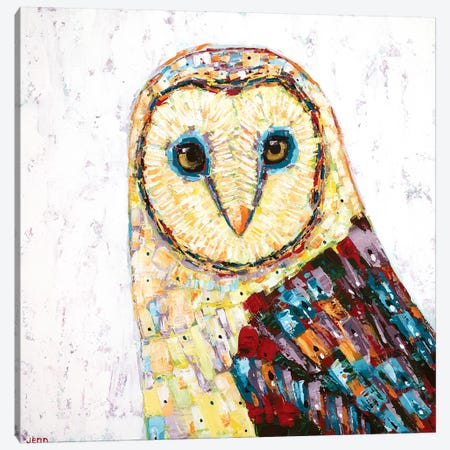 Barn Owl- White Canvas Print #JSE1} by Jennifer Seeley Art Print