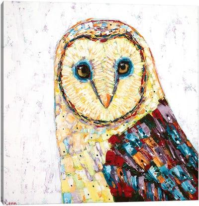 Barn Owl- White Canvas Art Print