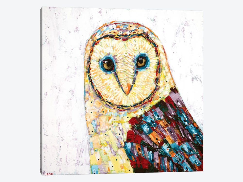 Barn Owl- White by Jennifer Seeley 1-piece Canvas Art Print