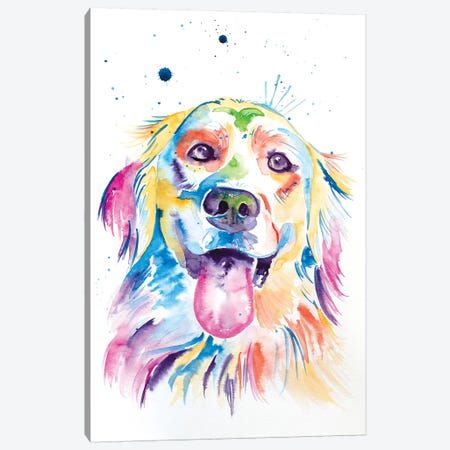 Watercolor Golden Retriever Canvas Print #JSE20} by Jennifer Seeley Canvas Wall Art
