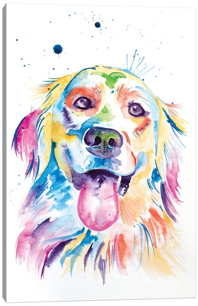 Watercolor Golden Retriever Canvas Art Print