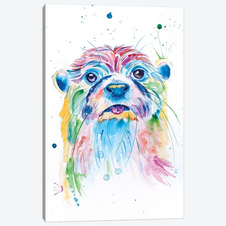 Watercolor Jewel Toned Otter Canvas Print #JSE21} by Jennifer Seeley Canvas Artwork