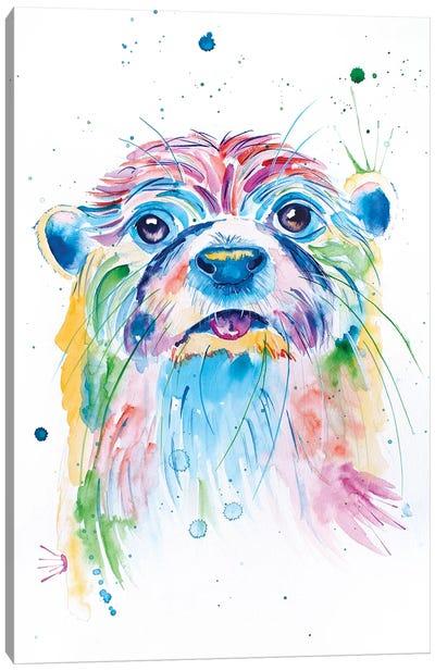 Watercolor Jewel Toned Otter Canvas Art Print