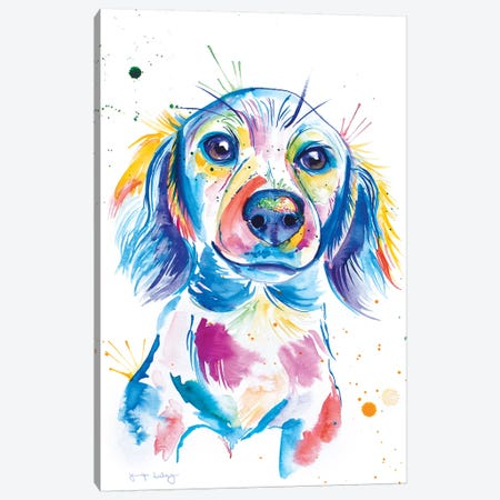 Watercolor Long-Haired Dachshund Canvas Print #JSE22} by Jennifer Seeley Canvas Wall Art