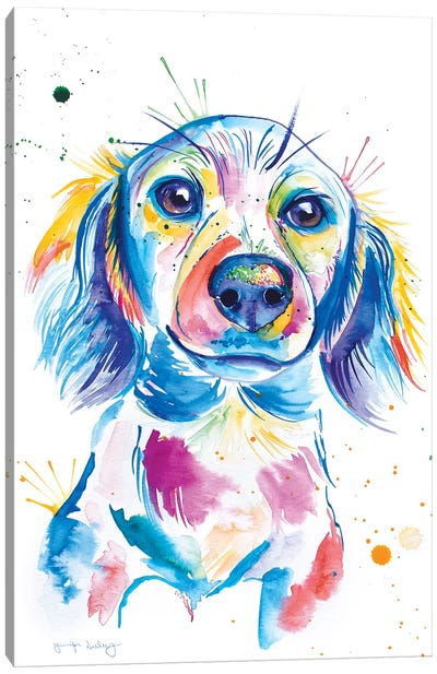Watercolor Long-Haired Dachshund Canvas Art Print
