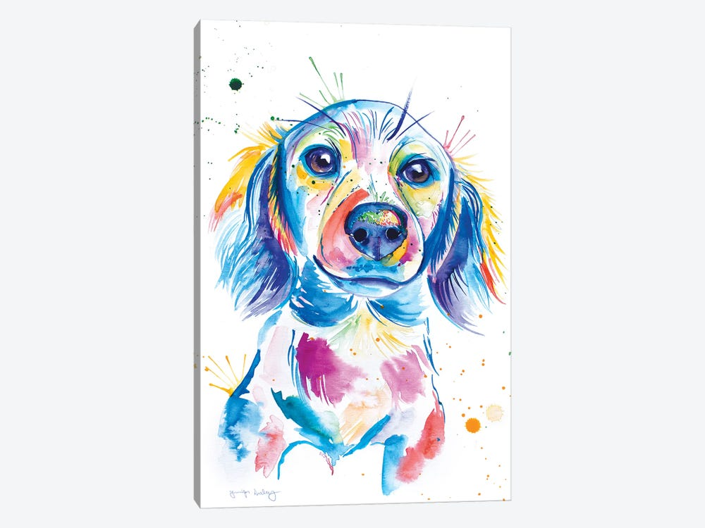Watercolor Long-Haired Dachshund by Jennifer Seeley 1-piece Canvas Art Print