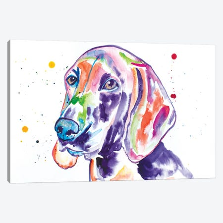 Watercolor Redbone Coonhound Canvas Print #JSE23} by Jennifer Seeley Canvas Wall Art