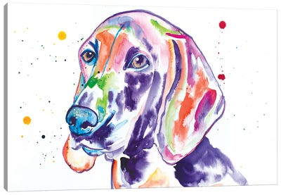 Watercolor Redbone Coonhound Canvas Art Print