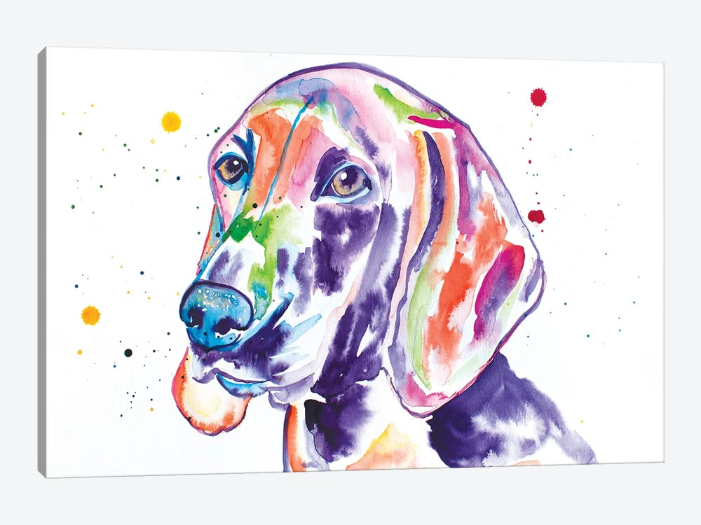 Watercolor Redbone Coonhound by Jennifer Seeley 1-piece Canvas Wall Art