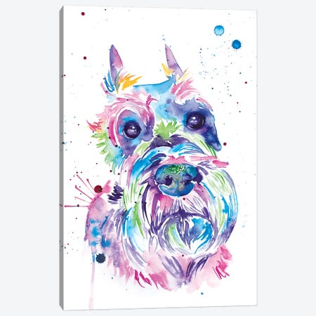 Watercolor Schnauzer Canvas Print #JSE24} by Jennifer Seeley Canvas Art Print