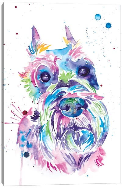Watercolor Schnauzer Canvas Art Print