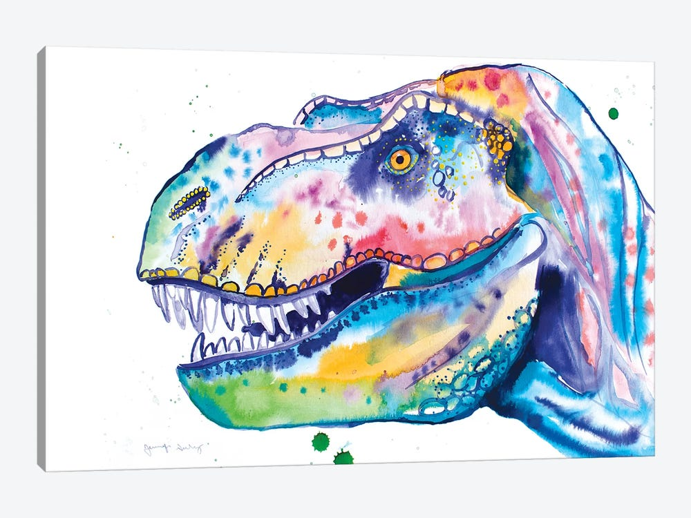Watercolor T-Rex by Jennifer Seeley 1-piece Canvas Wall Art