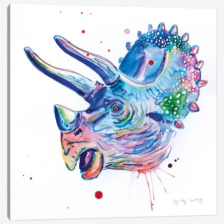 Watercolor Triceratops Canvas Print #JSE26} by Jennifer Seeley Art Print