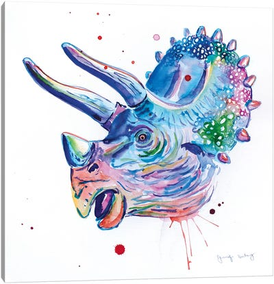 Watercolor Triceratops Canvas Art Print