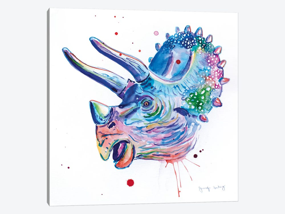 Watercolor Triceratops by Jennifer Seeley 1-piece Canvas Print