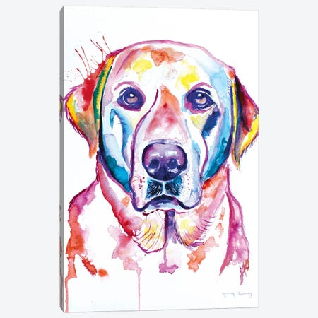 Watercolor Yellow Lab Canvas Print #JSE27} by Jennifer Seeley Art Print