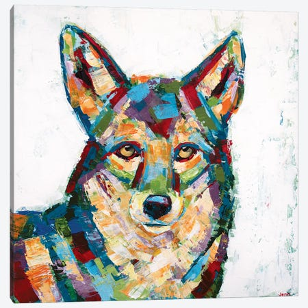 Coyote- White Canvas Print #JSE7} by Jennifer Seeley Canvas Artwork