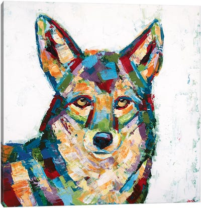 Coyote- White Canvas Art Print