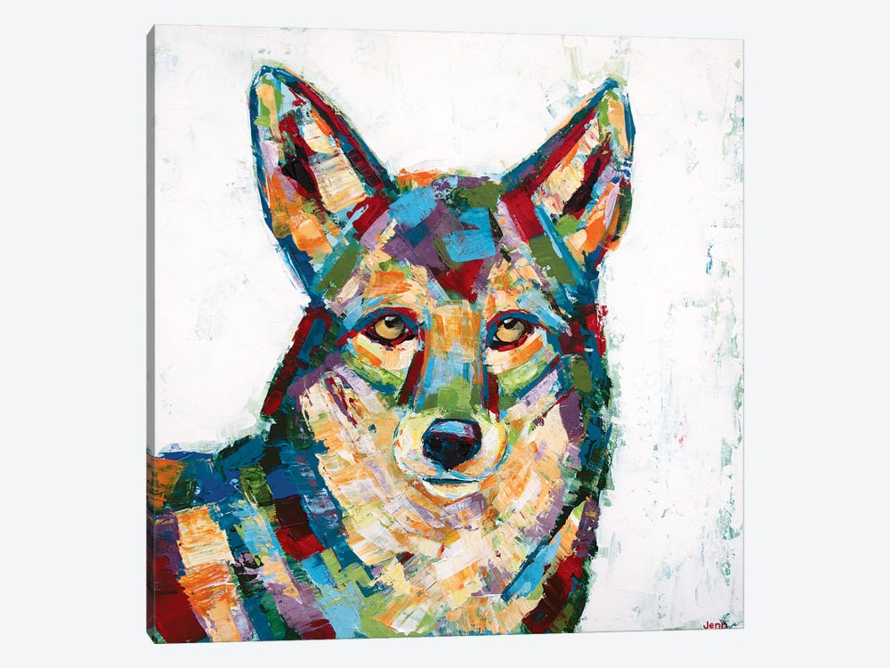 Coyote- White by Jennifer Seeley 1-piece Canvas Art Print