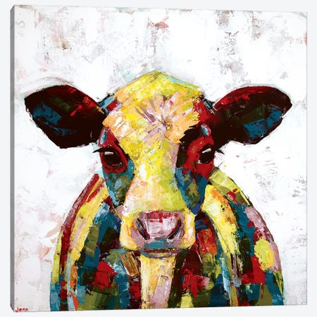 Dairy Cow- White Canvas Print #JSE8} by Jennifer Seeley Art Print