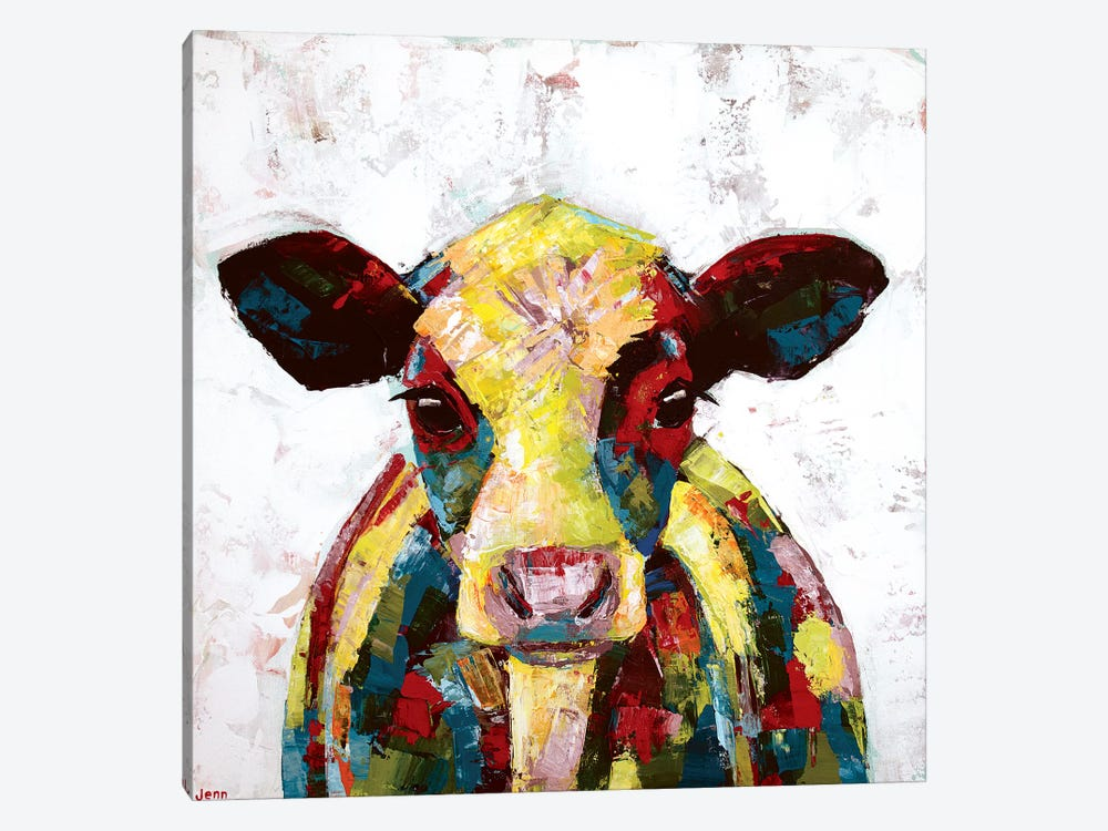 Dairy Cow- White by Jennifer Seeley 1-piece Canvas Wall Art