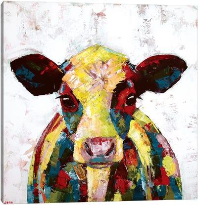 Dairy Cow- White Canvas Art Print