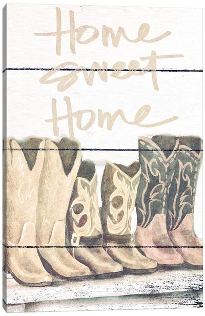 Home Sweet Home Boots Canvas Art Print