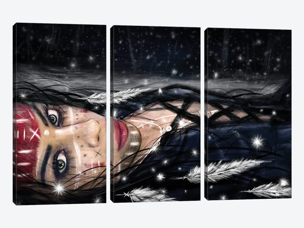 Midnight Snowfall by Justin Gedak 3-piece Canvas Artwork