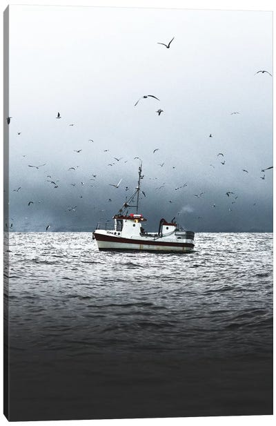 A Lonely Boat Canvas Art Print