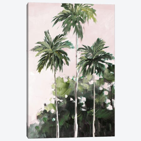 Palms Under A Pink Sky Canvas Print #JSL104} by Jane Slivka Art Print