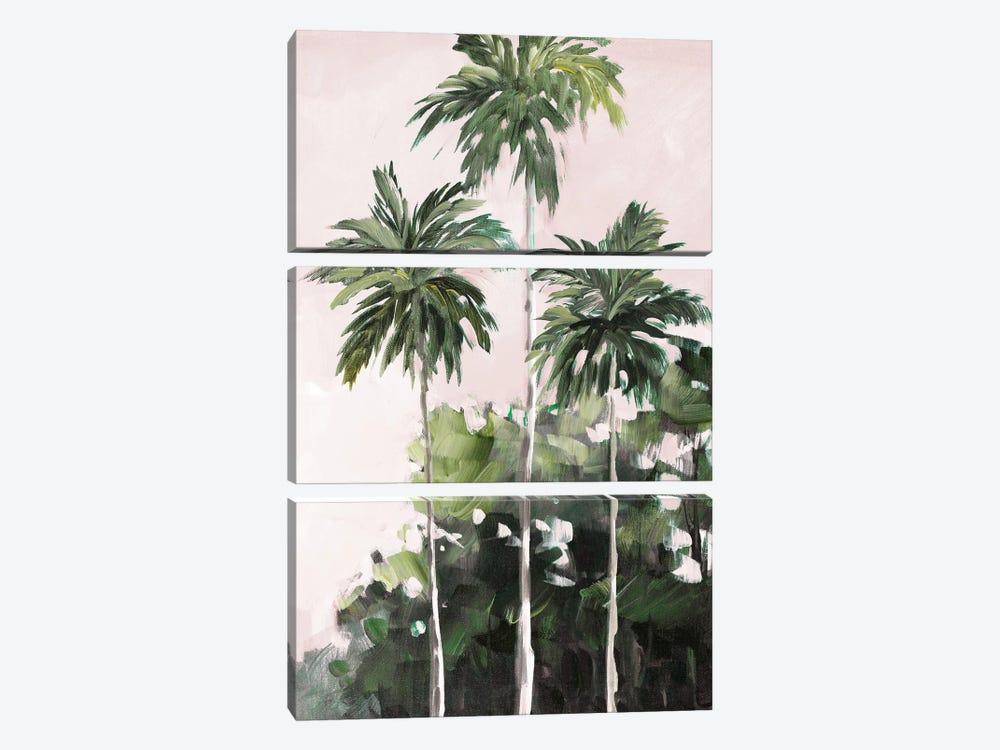 Palms Under A Pink Sky by Jane Slivka 3-piece Canvas Artwork