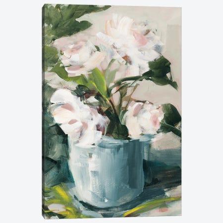 Peonies in Blue Vase Canvas Print #JSL106} by Jane Slivka Canvas Art Print