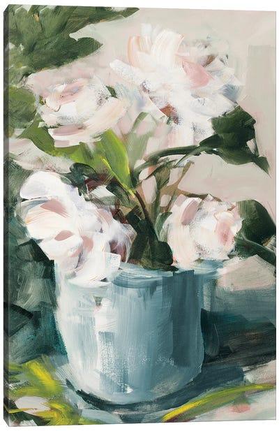 Peonies in Blue Vase Canvas Art Print