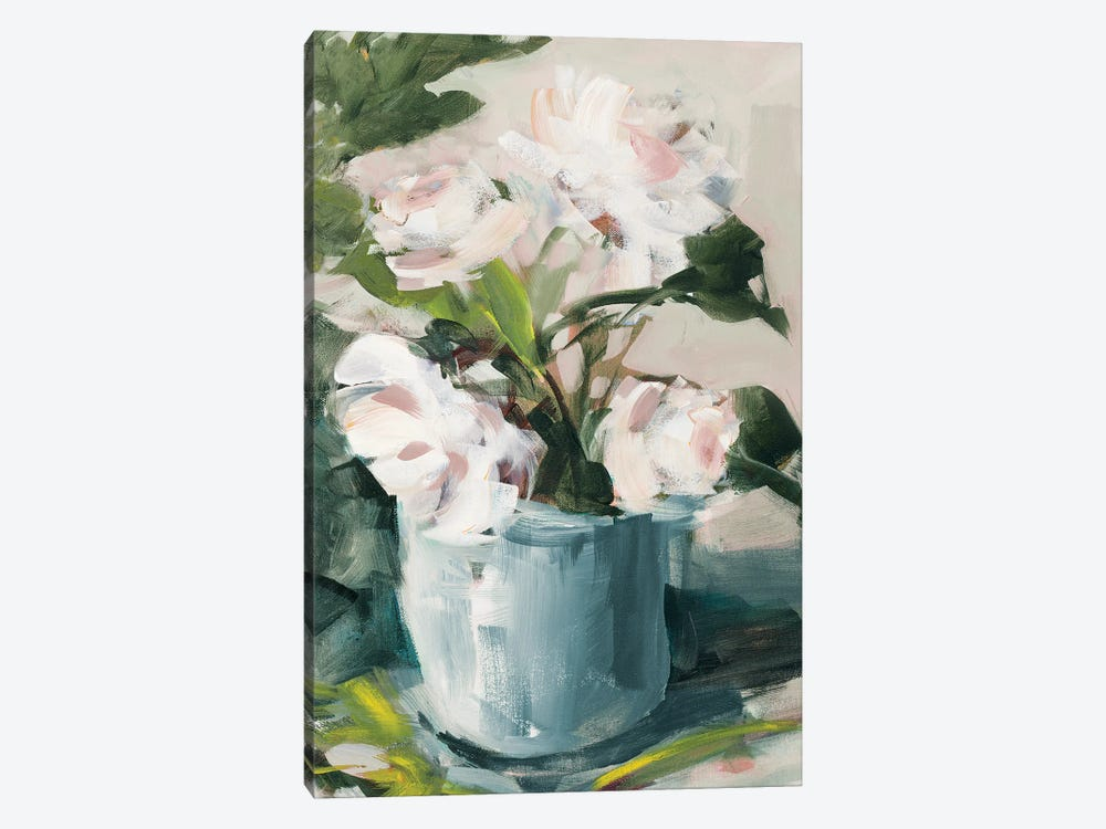 Peonies in Blue Vase by Jane Slivka 1-piece Canvas Wall Art