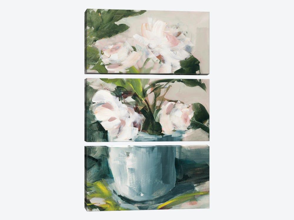 Peonies in Blue Vase by Jane Slivka 3-piece Canvas Artwork