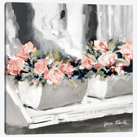 Pink Floral Window Canvas Print #JSL107} by Jane Slivka Art Print