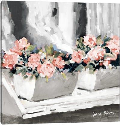 Pink Floral Window Canvas Art Print