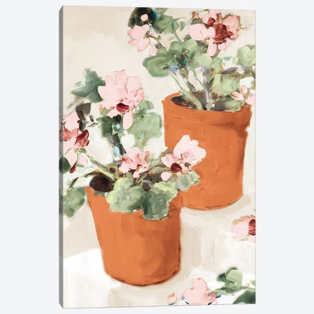 Potted Pink Geraniums Canvas Print #JSL108} by Jane Slivka Canvas Art