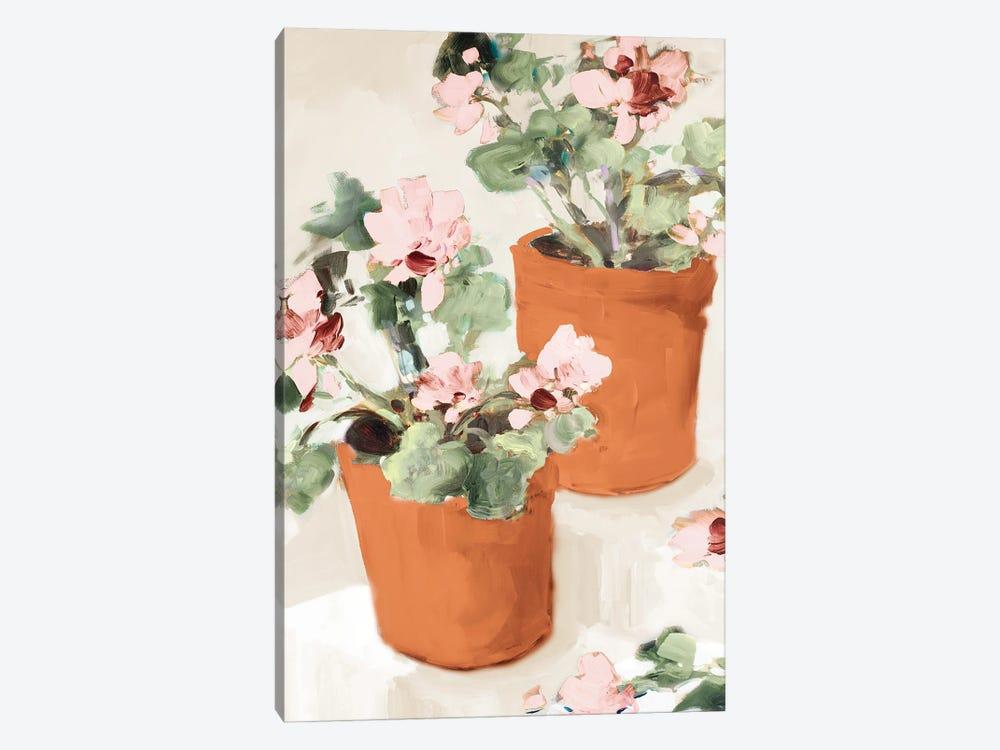 Potted Pink Geraniums by Jane Slivka 1-piece Canvas Artwork