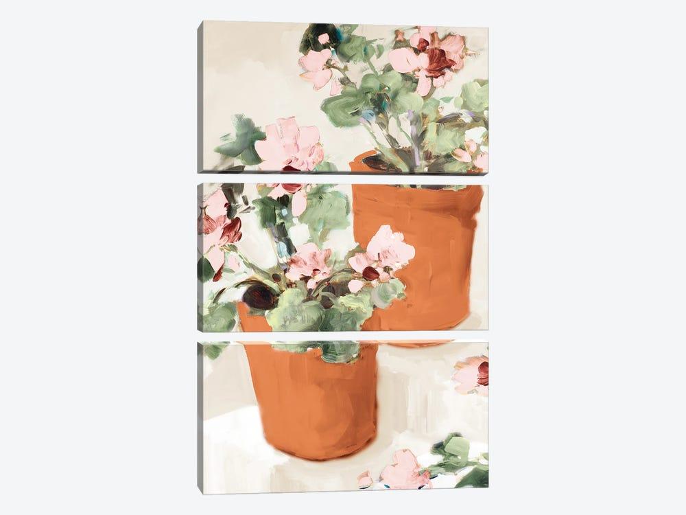 Potted Pink Geraniums by Jane Slivka 3-piece Canvas Artwork