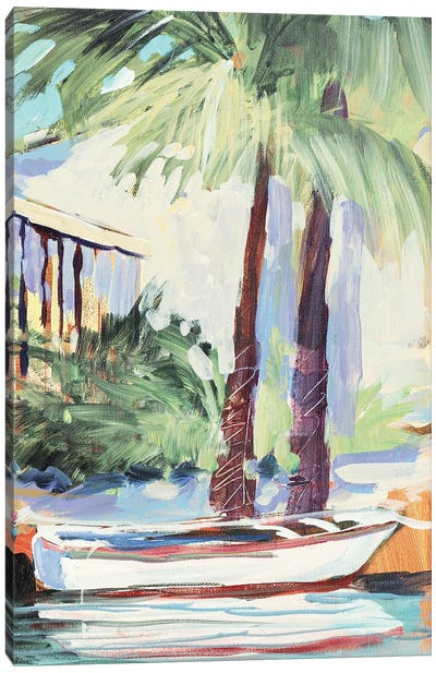 Docked By The Palms Canvas Art Print