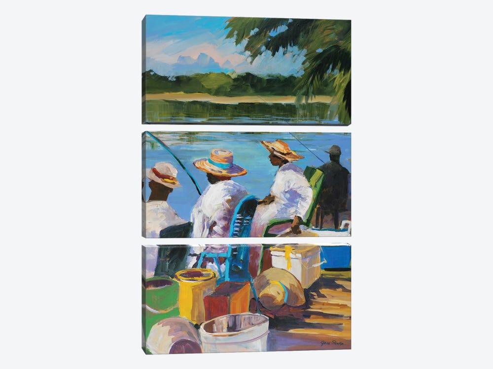 Fishing II by Jane Slivka 3-piece Canvas Wall Art