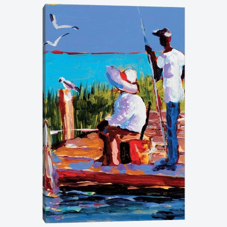 Fishing III Canvas Print #JSL24} by Jane Slivka Canvas Wall Art
