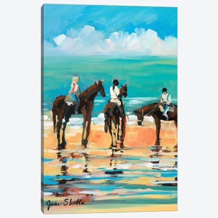 Horses on the Beach Canvas Print #JSL31} by Jane Slivka Canvas Wall Art