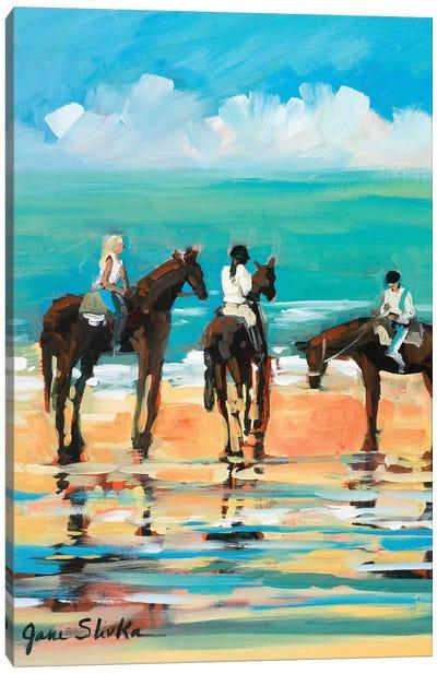 Horses on the Beach Canvas Art Print