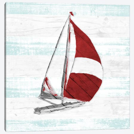 Red Full Sail I Canvas Print #JSL55} by Jane Slivka Canvas Art Print