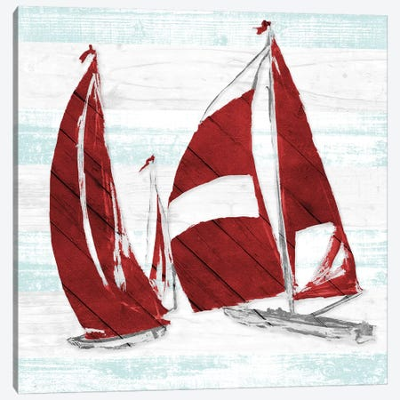 Red Full Sail II Canvas Print #JSL56} by Jane Slivka Art Print